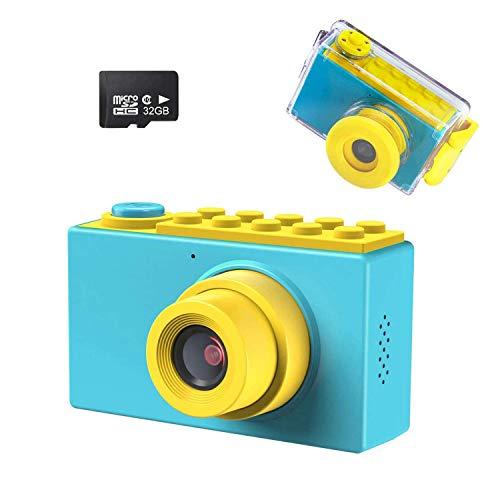 Kriogor Kamera Kinder, wasserdichte Kids Digitalkamera und Videokamera mit 4X Digitaler Zoom/ HD 1080/ 8 Megapixel/ 2 Zoll Bildschirm/ 32G TF Karte, Geschenke für Kinder (Blau)