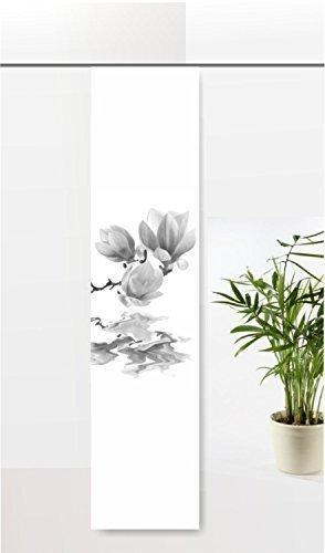 gardinen-for-life Flächenvorhang Magnolie im Wasser Grau, Schiebevorhang mit Druck-Motiv, Gr.60x245 cm
