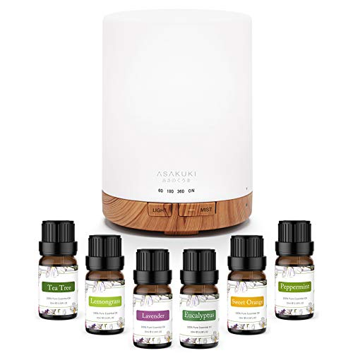 ASAKUKI 300ml Aromatherapy Oil Diffuser with 6Pcs*10ml Pure Essential Oil Gift Set, Cool Mist...