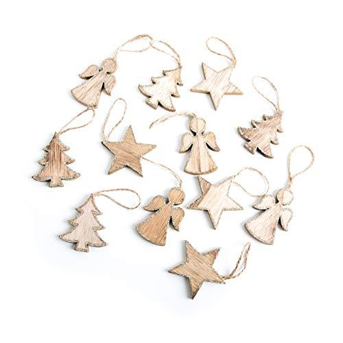 12 kleine Holz Weihnachtsanhänger 5 cm BAUM ENGEL STERN natur Glitzer GOLD Baumschuck Christbaumanhänger Anhänger Weihnachts-Deko Christbaumschmuck Baum-Behang