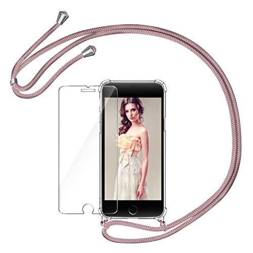AROYI Funda con Cuerda para iPhone 7/8 + Protector Pantalla, iPhone SE 2020 Carcasa Transparente TPU Silicona Case con Colgante Ajustable Correa de Cordón para iPhone SE 2020/iPhone 7/8, Oro Rosa
