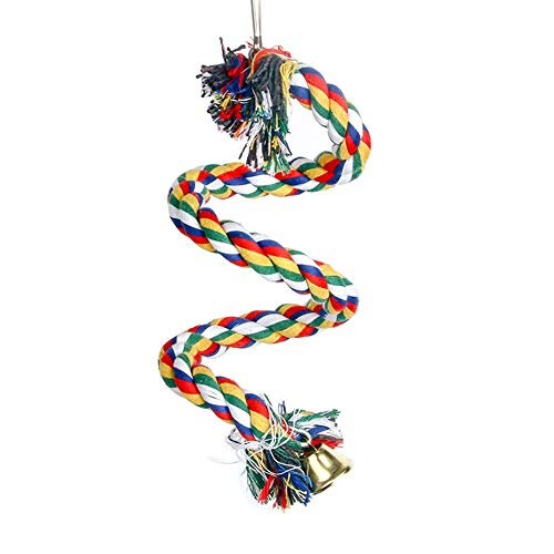 FGF Parrocchetti/Parrot/Cockatiel Toys,Corda Bungee Bird Toy,Natural Colorful Bead Cage Parrot Chewing Toy,Colorful Spiral Cotton Parrot Swing Climbing Standing Toys, Swing Toys