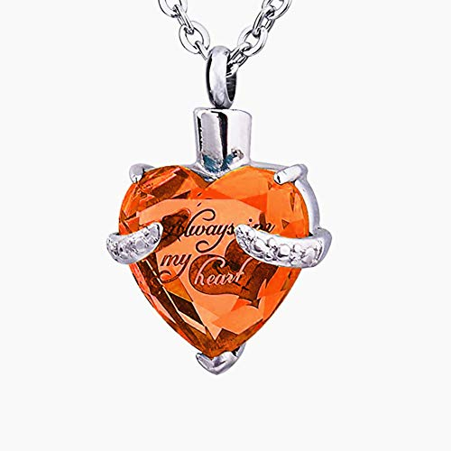 STARTONECO Always in My Heart 12 Birthstone Crystal Urn Necklace Heart Memorial Keepsake Pendant Ash Holder Cremation Jewelry for Ashes (Nov.)