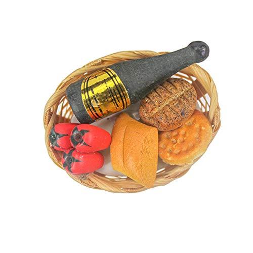 Yiifunglong Casas de muñecas de picnic mini botella de vino de verduras cesta de pan modelo de juguete de regalo de bricolaje