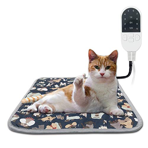 YEPSOON Pet Heating Pad Cat Heating Mat Waterproof Pets Heated Bed Adjustable Dog Bed Warmer Electric Heating Mat with Chew Resistant Cord (15.7x17.7, Doodle Blue)