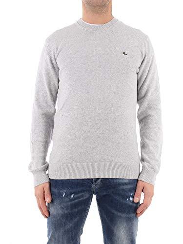 Lacoste Herren AH2193 Pullover Rundhals, klassisch Basic Sweater Pulli Strickpullover Strickpulli Oberteil Langarm Uni,Silver Chine (CCA),L (5)
