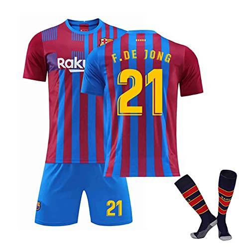 2122 Méssi Barcélona Home Football Jersey, Jersey de fútbol para Adultos y niños de fútbol, Transpirable y Secado rápido Red Blue 21-18