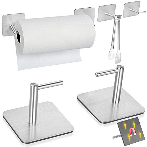 Magnetic Paper Towel Holders Heavy Duty Steel Brushed Holder with Strong Magnetic Backing - Fit for Large Paper Towels or Use as Hook - for Kitchen,Refrigerator,Grill,Toolbox,Garage,Shop··· (1 Pair)