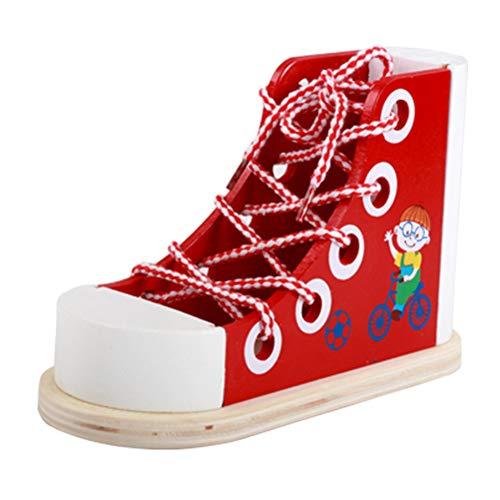 Heylas speelgoed inrijgen, luxe houten veters, sneakers, leren om een schoen pedagogisch speelgoed te binden, bevordert de onafhankelijkheid