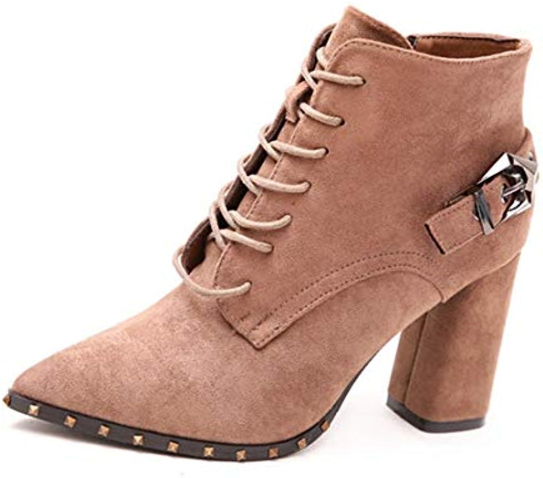 HOESCZS Gürtelschnalle Nieten Schnürung Dicke Ferse Stiefel Winter Spitz seitlicher Reiverschluss High Heel Martin Stiefel weiblich schwarz