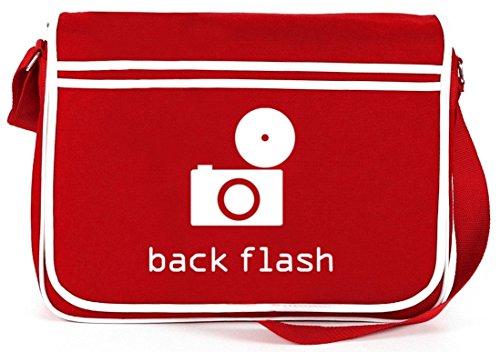 Shirtstreet24, BACK FLASH, Kamera Retro Messenger Bag Kuriertasche Umhängetasche, Größe: onesize,Rot