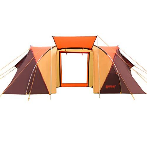 Tent chapiteaux Ultra Légère Tunnel Camping Extérieure Quality Camp Camp 4-6 Personnes Deux Chambres Une Chambre Familiale (Color : Orange, Size : 480 * 230 * 195/175cm)