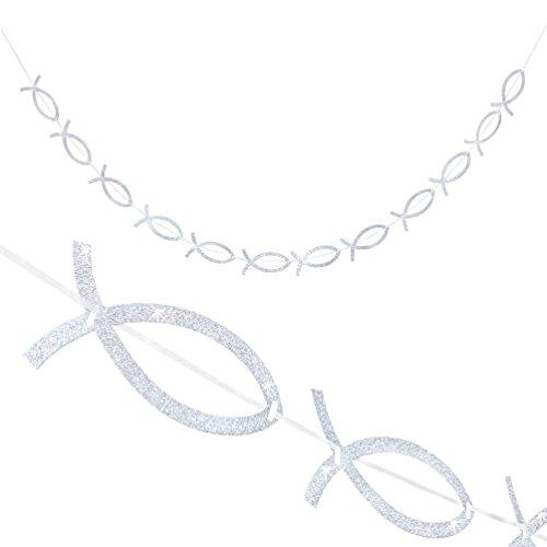 Oblique-Unique® Girlande Fisch Girlande Silber Glitzernd für Kommunion Taufe Dekoration Feier Hochzeit Dekoration
