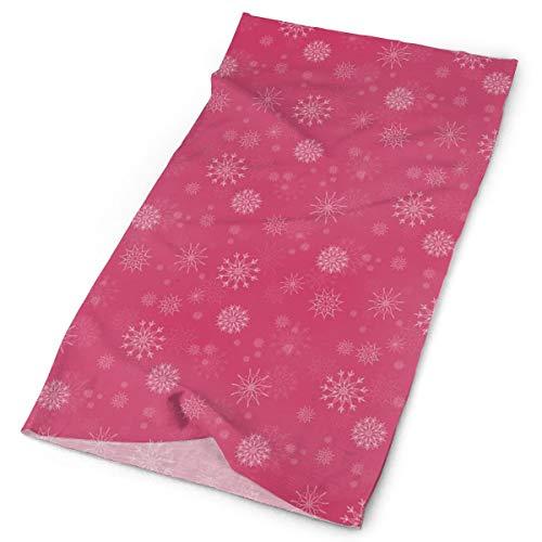 GUUi Headwear Headband Head Scarf Wrap Sweatband,Gentle White Snowflakes on Pink Background Soft Feminine Romantic Seasonal Pattern,Sport Headscarves for Men Women