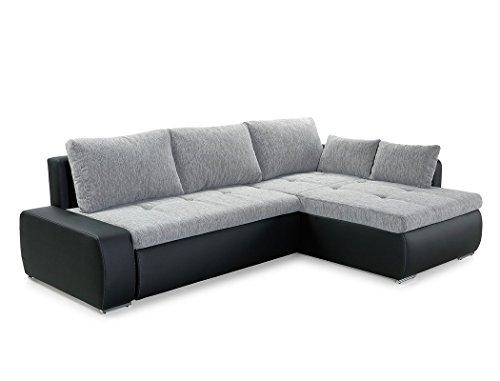 expendio Wohnlandschaft Amarin 260x181 cm grau schwarz Funktionssofa Eckcouch Polsterecke Bettkasten Couch Sofa Wohnzimmer