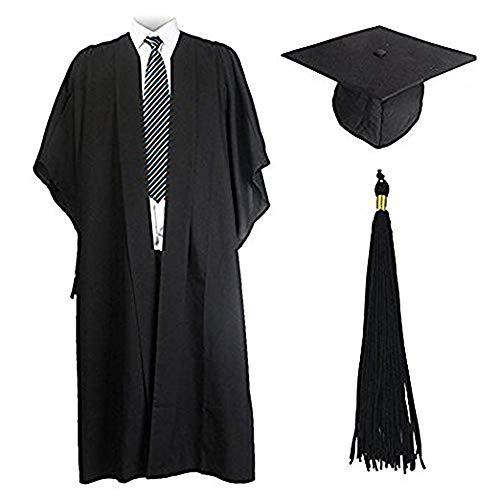 Graduación Toga y Birrete Universidad Maestro 2020 Adulto Disfraz Regalo Unisex Mujer Hombre Negro