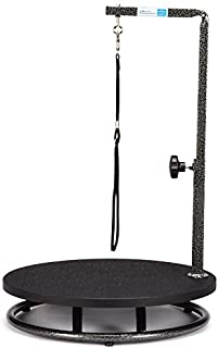 """Pet Edge Master Equipment Round Pet Grooming Table – Rotatable Black 18"""" Diameter Grooming Table Perfect for Small Dogs"""