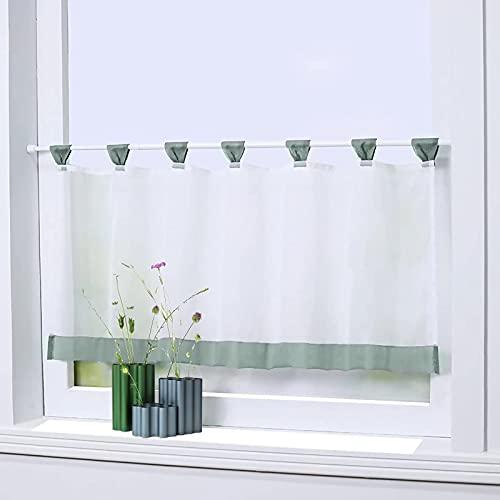 Visillos cortos, visillo de gasa con banda de satén, cortina semirrígida con trabillas, cortina corta para cocina, 45 x 90 cm (gris y verde)