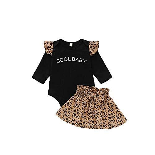 ShinyAmber Baby Mädchen Leopard Outfit Schwarz Hemd Top und Hose und Stirnband 3 Stück Kleidung Set (Black, 80)