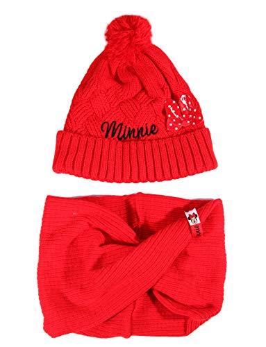 Coole-Fun-T-Shirts Minnie Mouse muts + sjaal meisje bundel originele Minni Mouse wintermuts set + lus rood of grijs maat 52 en 54 cm.