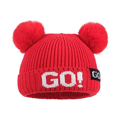 Gorros para bebés para niños Gorros para Mantener el Calor en otoño e Invierno con una Bola de Felpa Sombreros de Punto engrosados para bebés encantadores