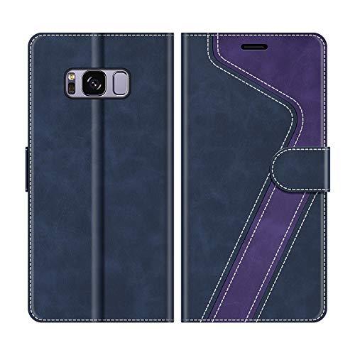 MOBESV Funda para Samsung Galaxy S8, Funda Libro Samsung S8, Funda Móvil Samsung Galaxy S8 Magnético Carcasa para Samsung Galaxy S8 Funda con Tapa, Azul Oscuro/Violeta