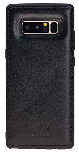 Solo Pelle Lederhülle für das Samsung Galaxy Note 8 Hülle, Schutzhülle aus echtem Leder, Model: Stanford in Schwarz