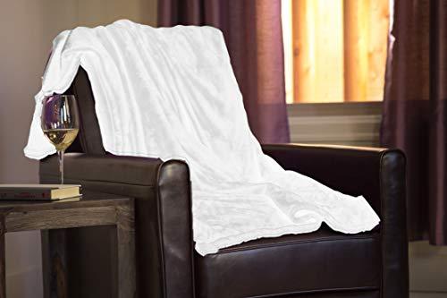 Höhere Komfort Luxuriös weichen Premium übergroßen (152,4x 182,9cm) & Classic Größe (127x 152,4cm) Überwurf Decken–verschiedenen Farben–Ideal als Couch Decke oder Bett Überwurf Classic weiß