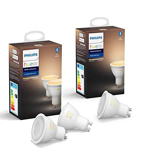 Philips Hue 3 Ampoules LED Connectées White Ambiance GU10 Compatible Bluetooth, Compatible avec Alexa