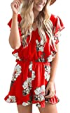 Angashion Women's Jumpsuits - Ruffle Cap Sleeves Wrap V Neck Floral Print Elastic Waist Short Rompers Red M