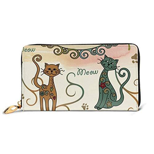 Lindo gato mascota huella impresa cuero cartera mujeres cremallera embrague bolsa viaje tarjeta de crédito titular, Black (Negro) - Black-48