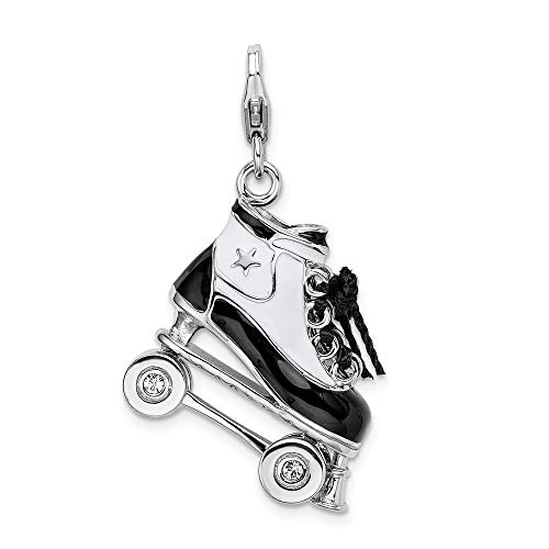 925 Sterling Silver Amore La Vita Pl 3 D Enameled Roller Skate Pendant Charm Necklace Sport Inline Skating Fine Jewelry For Women Gifts For Her