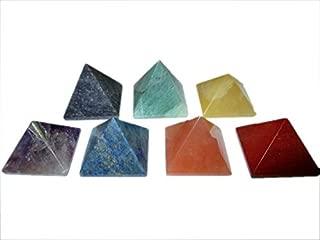 Chakra Pyramid Gemstone Healing Set Vastu Reiki Chakra Balancing Engraved Pyramid Good Luck Massage Pouch Prosperity Divine Chakra Balancing