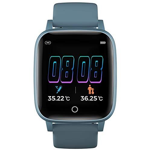 ZXQZ Relojes de Pulsera Reloj Inteligente, Reloj Inteligente Deportivo con Control de Música, Relojes de Pulsera con Pista Run Route, para iPhone Teléfono Android Watches (Color : Blue)
