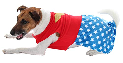 DC Comics Wonder Woman Superhero Halloween Pet Costume Sweater For Small Sized Dogs Or Cats (Small)