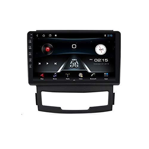 ADMLZQQ Radio de Coche Navegación GPS, 9 Pulgadas 2 DIN para SsangYong Korando 2012 con Bluetooth Carplay DSP SWC RDS AUX Soporte USB Control Volante Cámara Marcha atrás Monitor reposacabezas,M100