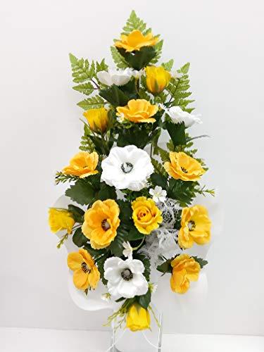 dolarestore Ramo para Cementerio, confeccionado artesanalmente con Flores Artificiales (Tela) Medida 60cm Amarillo Crema (185857)