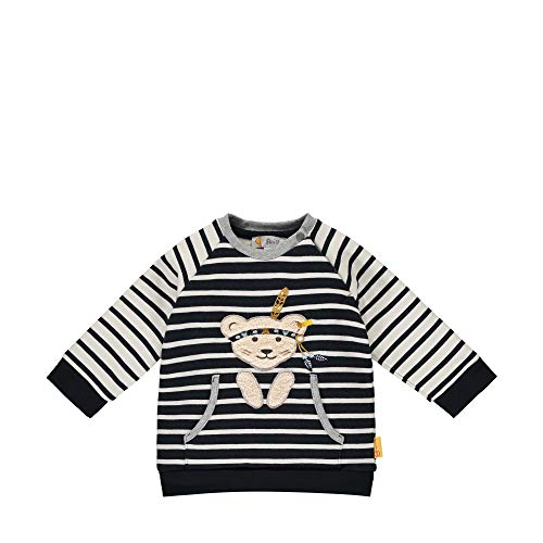 Steiff Baby-Jungen mit süßer Teddybärapplikation Sweatshirt, Navy, 074