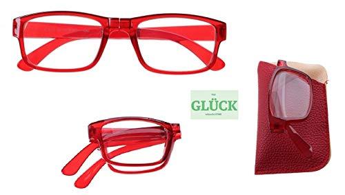 Lesebrille, Damen und Herren, verschiedene Farben und Stärken, faltbar mit Etui + gratis Glück Aufkleber (rot, 2,50)