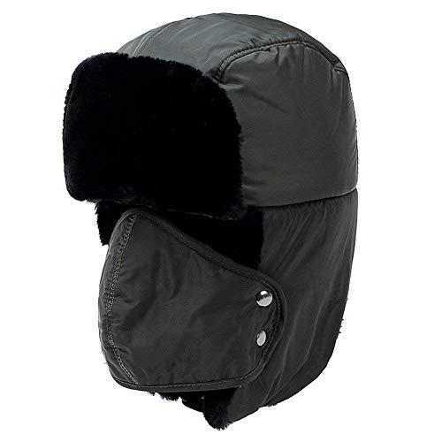 XiAOJIE dames muts unisex chapka met linid windproof stof warm voor skiën fietsen winter cap hippen met oor flap legergroen