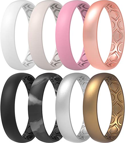ThunderFit Women Breathable Air Grooves Silicone Wedding Ring Wedding Bands 4mm - 8 Rings (5.5 - 6 (16.5mm))