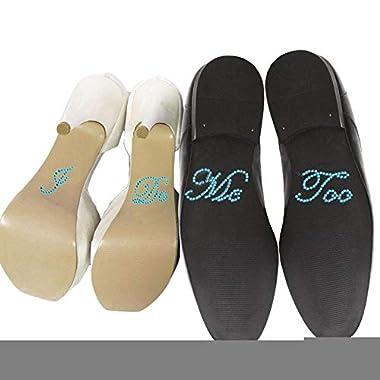 QTMY Rhinestone  I Do, Me Too  Stickers for Wedding Bridal Shoes (Blue)