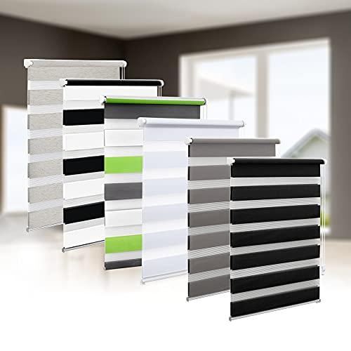 Eurohome Doppelrollo Klemmfix ohne Bohren, Duo Rollo,90cm x 150cm (Stoffbreite 86 cm) Schwarz Sichtschutz Rollo mit Klemmträgern für Fenster