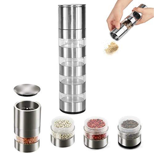 Osuter Salz und Pfeffermühle Edelstahl,Mehrschichtig Gewürzmühlen Manuell Salzmühle Durchsichtig für Salz Pfeffer Chili Gewürz Mahlen