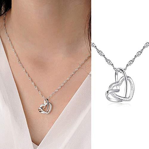 Collar Joyas Collar con Colgante De Corazón Sinuoso para Mujer, Elegante, para Mujer, Color Plateado Esmerilado, Gargantilla De Clavícula, Cadena De E
