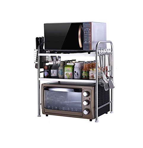 JINKEBIN Estante 3-Tier Estante de la cocina del horno microondas del estante de tres niveles de acero inoxidable horno de carro estantes de la especia estante de la botella de almacenamiento de cocin