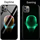 Coque de en Verre Lumineux pour iPhone 6 6S 7 8 Plus X XR XS XS Max 11 11 Pro 11 Pro Max Avengers Black Panther Iron Man Bat Spider Man iPhone 7 8 17