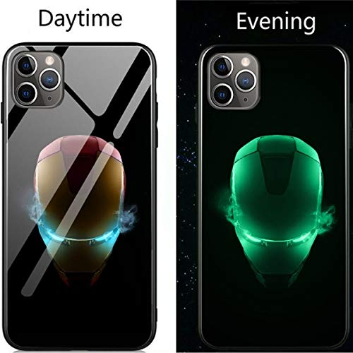 Carcasa de Cristal Luminoso iPhone 6, 6S, 7, 8 Plus, XR, XS, XS, MAX 11, 11Pro, 11, Pro MAX, Avengers, Black Panther, Iron Man, Bat, Spider, Man, impresión a la Moda