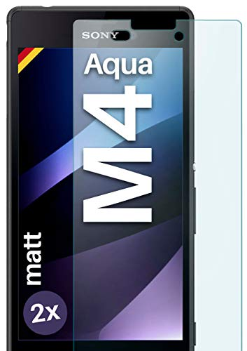 2X OneFlow Cristal extrafuerte antirreflejos para Sony Xperia M4 Aqua Lámina extrafuerte...