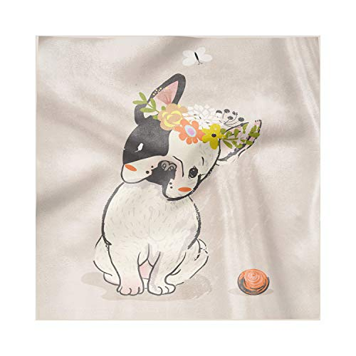 Lunarable Dog Decorative Satin Napkins Set of 4, Hand Drawn French Bulldog Wreath on Its Head Watercolor Domestic Pet Illustration, Square Printed Party & Dinner Napkin, 12' x 12', Multicolor
